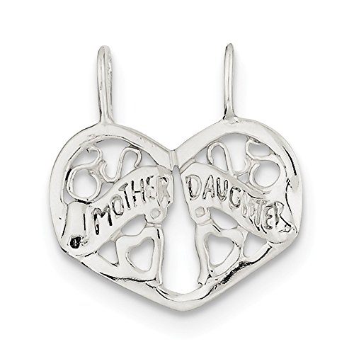 Sterling Silver Mother/Daughter Break apart Heart Charm (0.9IN long x 0.8IN (Daughter Break Apart Heart)