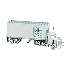 Sanis Enterprises 18 Wheeler Truck Clock, 5.5 by 2-Inch, Silver