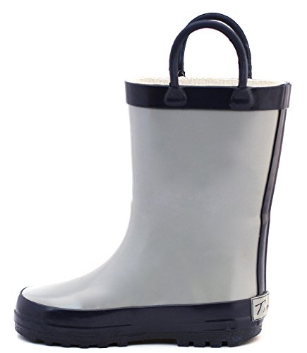 Gray & Navy Rubber Rain Boot Size 5 by Timbee