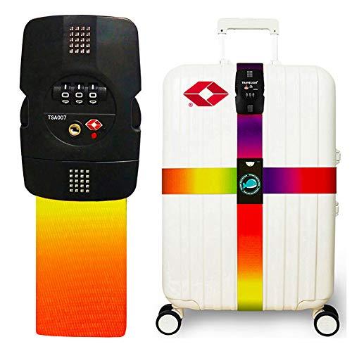 Luggage Strap Cross Straps TSA Combination Lock Adjustable Travel Belts Suitcase Belt -