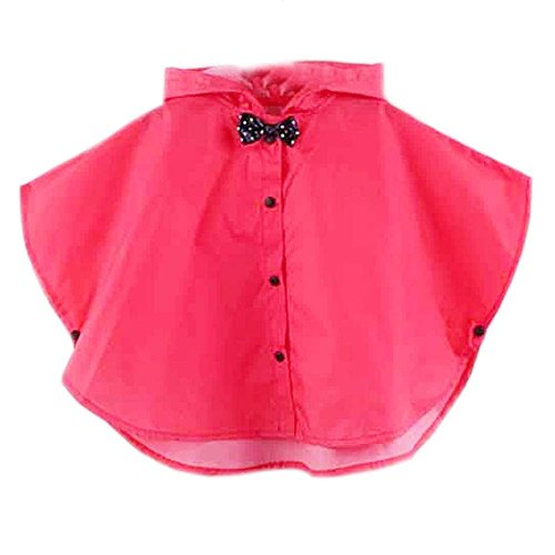 Lovely Bowknot Raincoat Baby Girl Rain Jacket Toddler Poncho,Rose Red,For 2-3Y (Poncho Baby Girl)