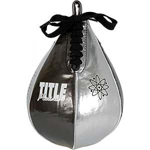 """TITLE Boxing Platinum Atomic Speed Bag, Black/Platinum, 4"""" x 6"""""""