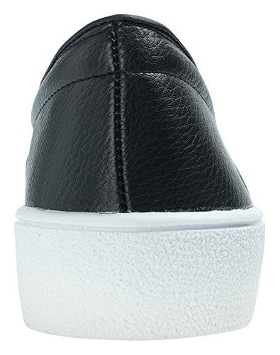 Annakastle Femmes Solide Vegan Cuir Slip Sur Espadrille Quotidienne Chaussures Occasionnelles Noir