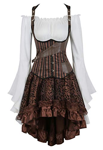 Zhitunemi Women Steampunk Corset Dress Medieval Peasant Chemise Costume Victorian Saloon Girl Dresses Brown -