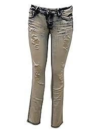 Traffic Brand Women's Skinny Destructed Boyfriend Denim Jeans With Comfort Stretch