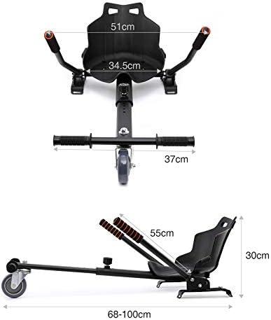 Z ZELUS Hoverkart Réglable, HoverKart Self Balancing avec Siège, Kart pour Hoverboard, Go-Kart pour Self-Balance Scooter, Gyropode, Scooter Électrique (Noir)