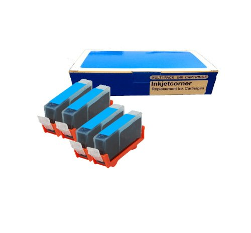Inkjetcorner 4 Pack Cyan Compatible Ink Cartridge for Canon CLI-8C Canon Pixma iP3300 iP3500 iP4200 iP4300 iP4500 iP5200 iP5200R iP6600D iP6700D MP500 MP530 MP600 MP610 MP800 MP800R MP810 MP830 MX850 MP950 MP510 MX700 MP950 MP960 MP970 Pro9000 Mark II