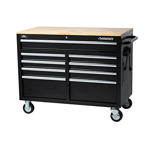 Husky Extra Deep 46 in. 9-Drawer Mobile Workbench (Work Bench & Cabinets Garage)