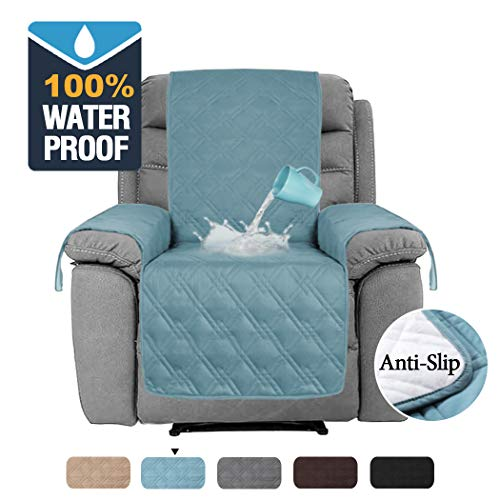 H.VERSAILTEX 100% Waterproof Recliner Chair Covers for Leather Anti Slip Furniture Protector, Furniture Protectors for Recliners Protect from Dogs/Cats, Spills, Wear and Tear (Recliner, Smoke Blue)