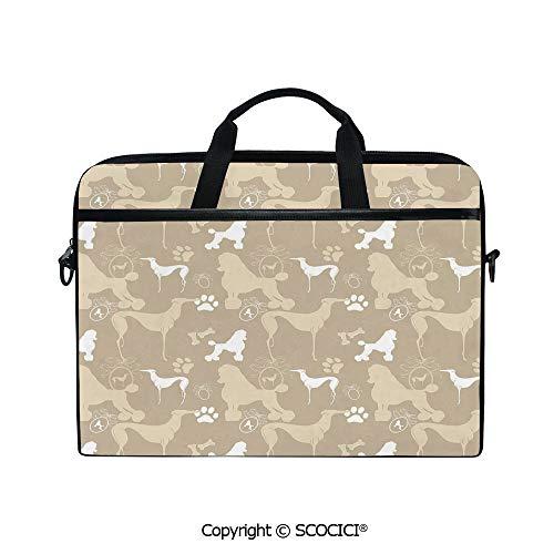 (Customized Printed Laptop Bag Notebook Handbag Pet Animals Accessories Leash Paw Print Bone Ornamental Abstract Illustration 15