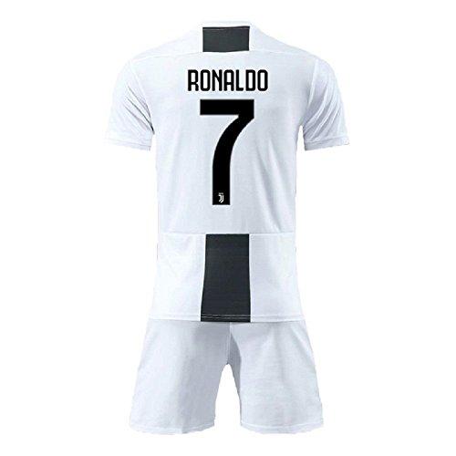 (Bamerand Youth Ronaldo Jerseys Juventus # 7 Kid's(Boy's) Soccer Jersey 2018/2019 Home Shorts White (L))
