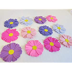 12 Paper Aster Flowers, 2 Inch Pink and Purple Blooms, Variety Colors, September Birthday 74