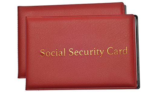 Social Security Card Protector With 2 Clear Card Sleeves   Medicare Card Holder  Driver License  Health Insurance  Id  Credit Card Holders  Red  2 Pack