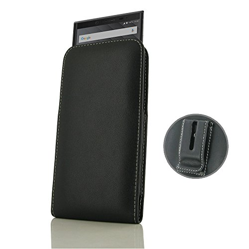 PDAir BlackBerry KEY2 Genuine Leather Case, Leather Pouch Case with Belt Clip [Belt Holster Sleeve Case] | Handmade Premium Vertical Pouch for BlackBerry KEY2