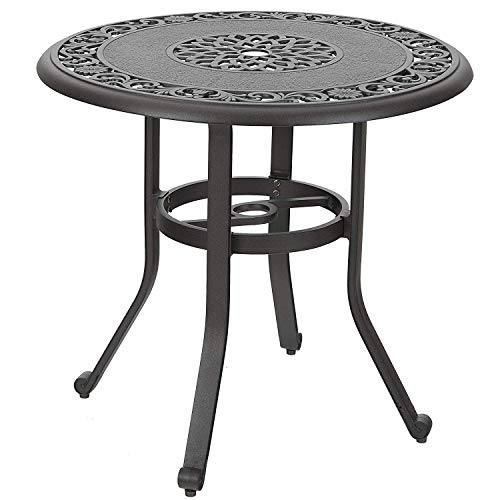 """PHI VILLA 32"""" Cast Aluminum Patio Outdoor Retro Bistro Table Round Dining Table with Frosted Surface, 1.97"""" Umbrella Hole"""