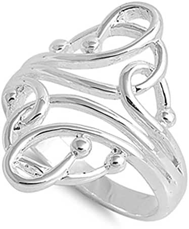 CHOOSE YOUR COLOR Sterling Silver Fashion Bead Ring