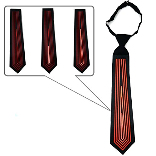 LED Red Tie Sound Activated Clothing for Parties, Festivals, and Clubs