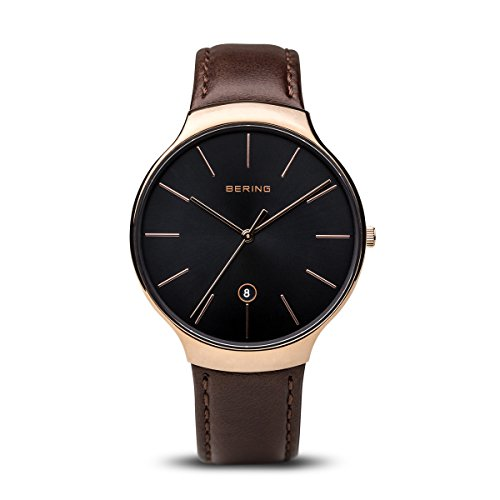 BERING Time 13338-562 Unisex Classic Collection Watch with Calfskin Strap and scratch resistent sapphire crystal. Designed in Denmark