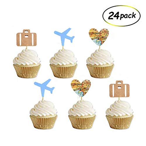 Travel Cupcake Toppers, Airplane, Map, Luggage Adventure Awaits Travel Theme Party Decorations, Retirement Farewell Graduation Wedding Bridal Baby Shower Party Supplies Decorations(24 Pack) ()