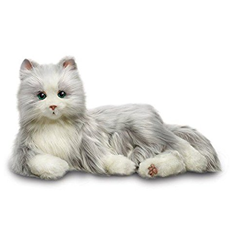 Joy for All Robotic Reclining Silver Grey Cat - Stuffed Animal Therapy for People with Memory Loss from Aging and Caregivers