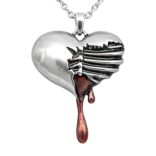 Controse Silver-Toned Stainless Steel Bleeding Heart Necklace 17