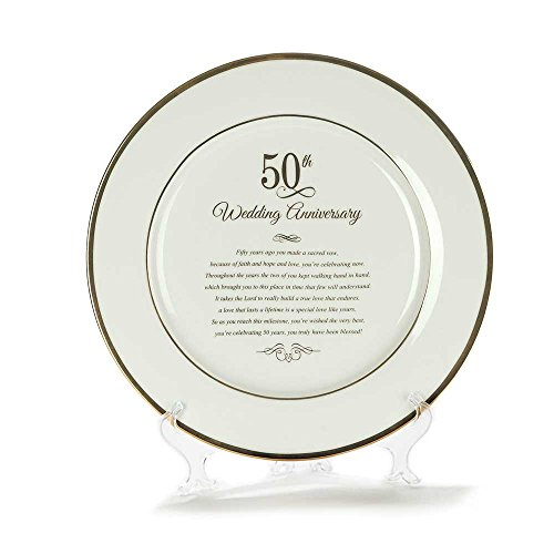 Dicksons Gold Tone 50th Wedding Anniversary 12.5 x 12.5 Porcelain Table Top Plate and Sign ()