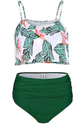 06756824d78 Byoauo Womens High Waist Bikini Swimsuits Two Piece Thin Shoulder Straps Plus  Size Swimwear (XXL, Green Flower)