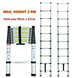 2.6m/2.9m/3.2m/4.1m Multi-Purpose Alloy Aluminum Retractable Multifunctional Ladder Telescopic Single Straight Extension Extendable Folding Step Ladder (2.9m)