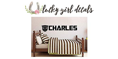 (Lucky Girl Decals Vinyl Wall Decor Inspired by Transformers Personalized Custom Name 50.5 inches Wide by 9 inches high)