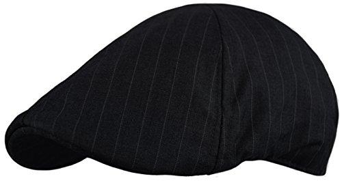 Urbanhatshop Cotton Duck Bill Hat, Newsboy Cap, Mens Dress Cap, Driving, Pub Wear (Black, S/M) (Pub Cap Black)
