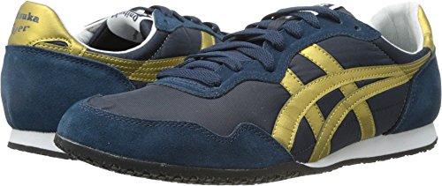 (Onitsuka Tige Unisex Serrano Sport Shoe, Navy/Gold, 11.5 M US Women/10 M US Men)