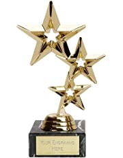 "Gold Triple Star Trophy,Award 202mm (8""),FREE engraving upto 60 characters (FT94A)"