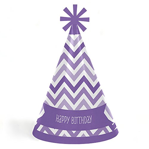Chevron Purple - Cone Happy Birthday Party Hats for Kids and Adults - Set of 8 (Standard Size)