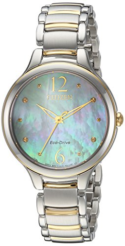 Citizen Women's 'Eco-Drive' Quartz Stainless Steel Casual Watch, Color:Two Tone (Model: EM0554-58N)
