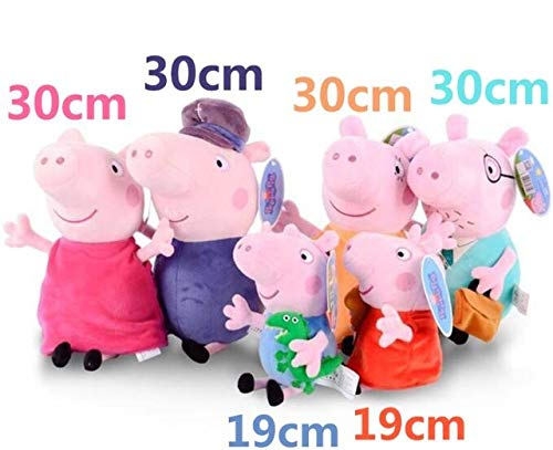 HOLLUK Brand 4Pcs/Set Stuffed Plush Toy 19/30Cm George Pig Family Party Dolls Christmas New Year Gift for Girl -Multicolor Complete Series Merchandise