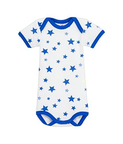 (PETIT BATEAU BABY BOYS S/S ONESIE-BODYSUIT WHITE-BLUE STAR PRINT STYLE 12141 SIZES 3-24 MONTHS (SIZE 3/M STYLE 12141))
