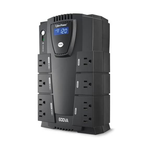 CyberPower CP600LCD Intelligent LCD UPS System, 600VA/340W, 8 Outlets, Compact 1 825VA/450W Intelligent LCD Battery Backup Uninterruptible Power Supply (UPS) System 8 NEMA 5-15R OUTLETS: (4) Battery Backup & Surge Protected Outlets, (4) Surge Protected Outlets safeguard desktop computers, workstations, networking devices and home entertainment equipment MULTIFUNCTION LCD PANEL: Displays immediate, detailed information on battery and power conditions, including: estimated runtime, battery capacity, load capacity, etc.