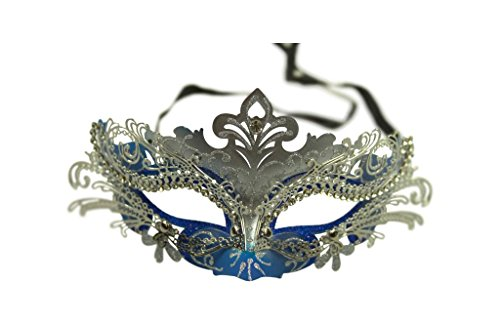 KAYSO INC Exclusive Eyes of Angel Laser Cut Masquerade Mask, Blue & Silver
