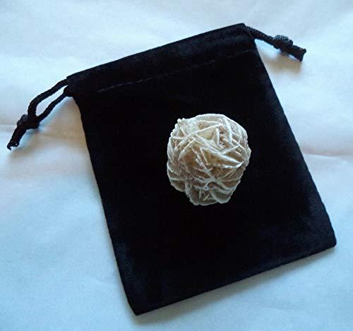 IM Waode Desert Rose Selenite Flower: Protection Set - Stone Plus Velvet Bag (Rock Bud)