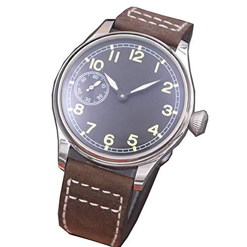 Parnis 44mm Black Dial Green Marks Luminous Pointer 17 Jewels Seagull 6497 Hand Winding Movement Men's Wrist Watch ()