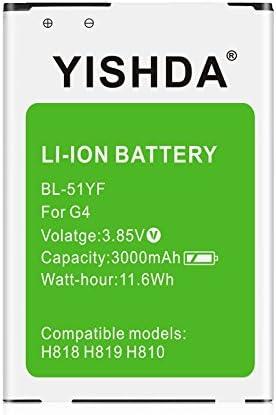 باتری YISHDA LG G4 ، باتری 3000mAh جایگزین LG BL-51YF باتری LG G4 Vista 2 H740 G STYLO LS770 H634 Stylus H631 H635 MS631 H815 H812 H811 H810 VS986 VS999 US991 LS991 F500 | باتری یدکی LG G4