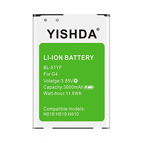 LG G4 Battery, YISHDA 3000mAh Replacement Li-ion Battery for LG G4 [BL-51YF], US991, H812, H815, H810 AT&T, H811 T-Mobile, LS991 Sprint, VS986 Verizon | LG G4 Spare Battery – 18 Month Warranty