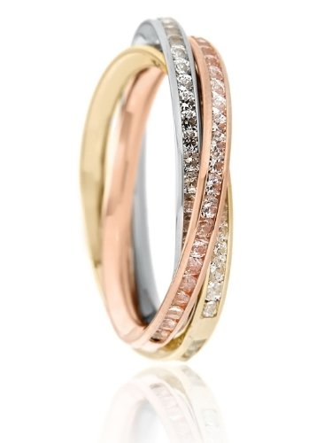 Carissima Gold 9 ct 3 Colour Gold Russian Style Cubic Zirconia