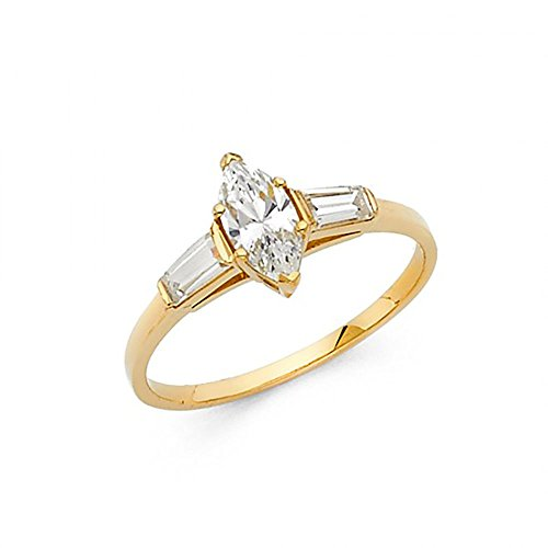 14k Yellow Gold Marquise CZ Channel Set Baguette Solitaire Engagement Ring
