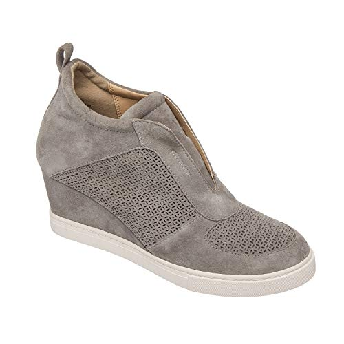 Zaven - Slip-On Fashion Sneaker Wedges in Laser Cut Suede Light Grey Suede 7M from Pic & Pay