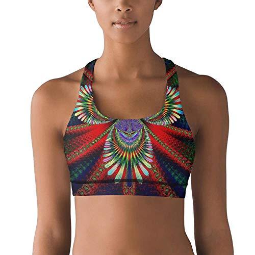 Woman Yoga Bra Colorful Trippy Art 3D Racerback Freedom Trendy Athletic Shirts]()