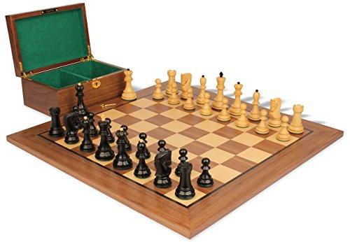 Ebonized Chess (Yugoslavia Staunton Chess Set in Ebonized Boxwood & Boxwood with Walnut Board & Box - 3.25