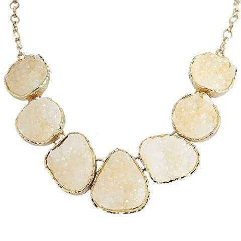 Jane Stone White Drusy Necklace Statement Necklace Bib Necklace Chunky Necklace(Fn0833-White) (Womens Chunky Jewelry)