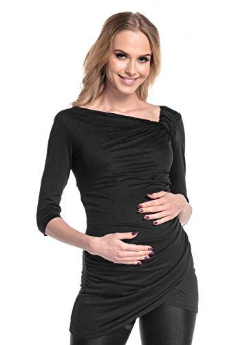Happy Mama mujer Maternidad superior minivestido de punto elástico. 995p Negro