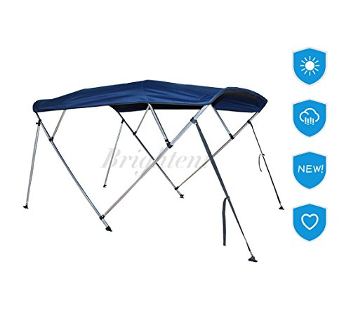 Brightent Navy Blue Bimini Top 6 Different Size 3-4 Bow Boat Canopy Cover with Free Support Poles and Towel Clips (4 Bow L8'/W79